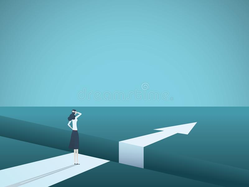 Business challenge and solution vector concept with businesswoman standing over big gap. Symbol of overcoming obstacles. Strategy, analysis, creativity. eps10 vector illustration