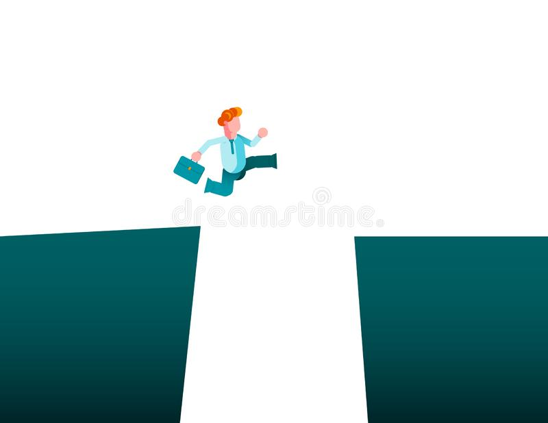 Business challenge vector concept with businessman jumping over gap. Symbol of motivation, finding solution, overcome obstacles stock illustration
