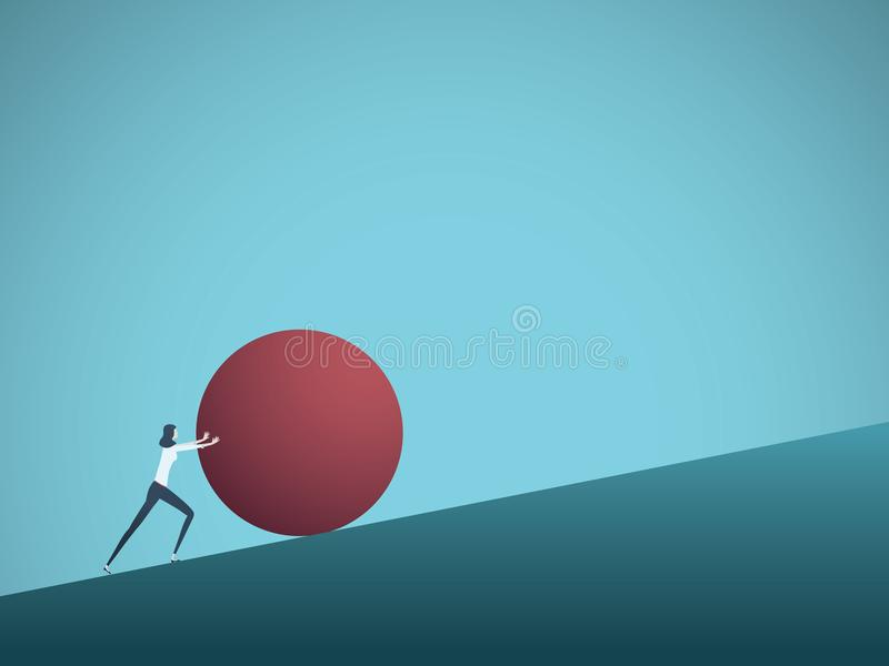 Business challenge vector concept with businesswoman as sisyphus pushing rock uphill. Symbol of difficulty, ambition stock illustration