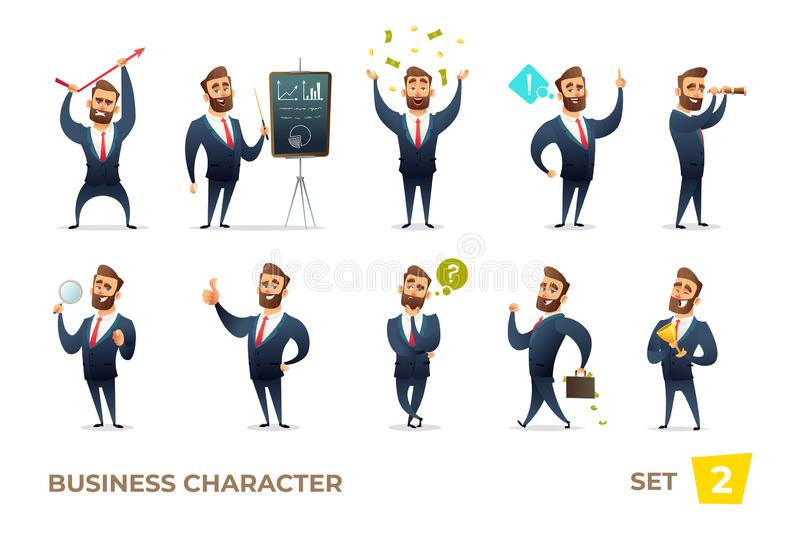 Businessman collection. Bearded charming business men in different situations. Modern character design. Businessman collection. Bearded charming business men in vector illustration