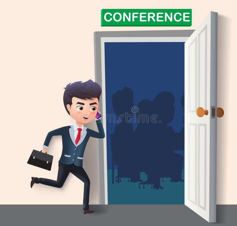 Business character attending conference vector concept. Business male character late running. vector illustration
