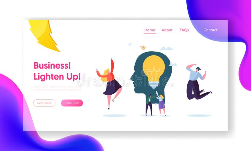 Business Character Creative Idea Landing Page. Teamwork Solution for Company Growth. Woman Lighten up Lightbulb. Education Power Concept for Website or Web vector illustration