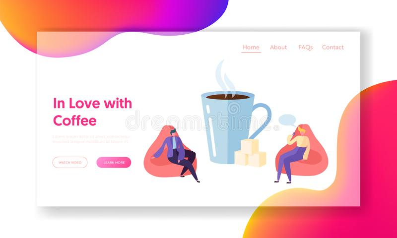 Business Character Drink Coffee on Morning Break Landing Page. Professional Man Rest and Talk at Big Cup Corporate Lunch. Business Character Drink Coffee on royalty free illustration