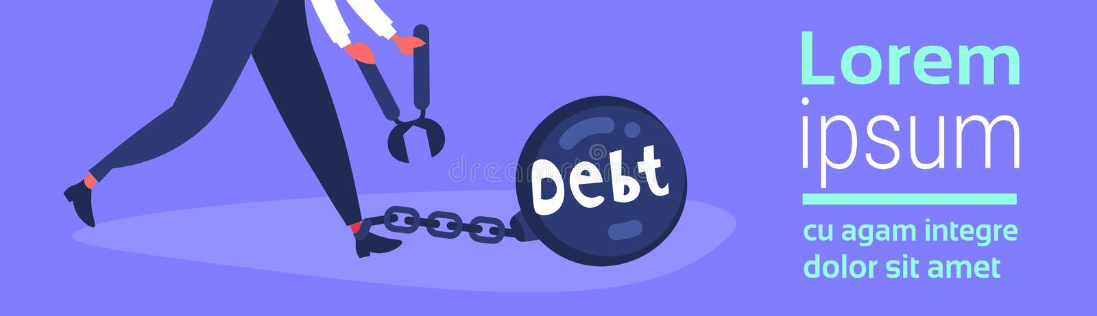 Business character holding nippers chain bound leg credit debt finance crisis problem solution concept flat horizontal. Banner copy space vector illustration royalty free illustration