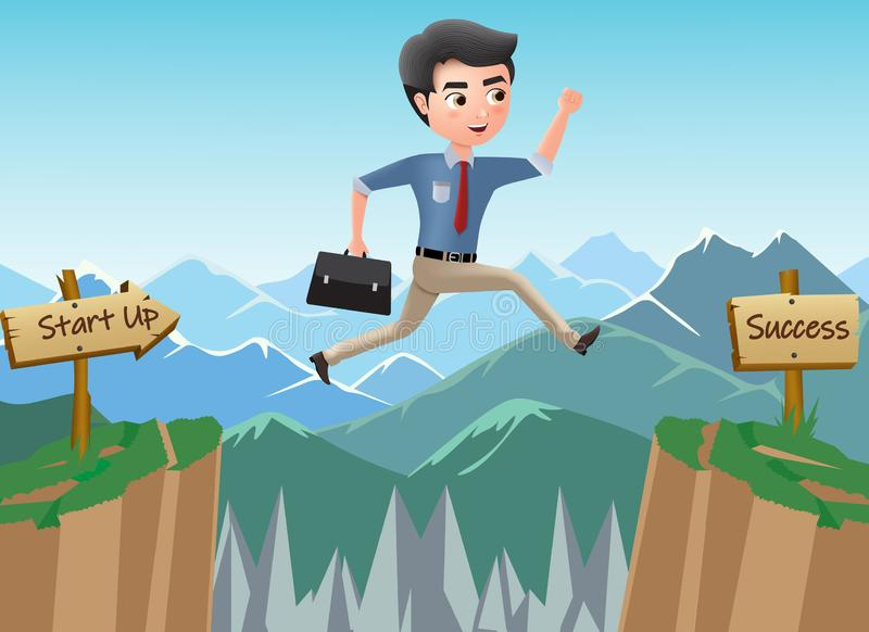 Business character journey to success vector concept. Business man character jumping risk for achievement. vector illustration