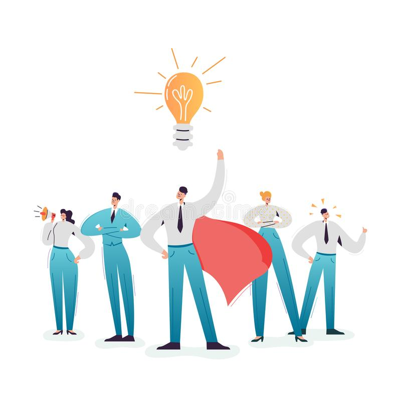 Business Character Team Work. Leadership and Cooperation Concept. Businessman and Businesswoman Working Together royalty free illustration