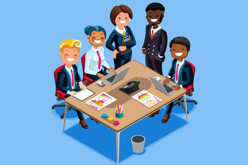 Business Character Vector Cartoon Isometric People. Vector business character reunion. Cool vector 3D flat isometric people on meeting in cartoon style with vector illustration