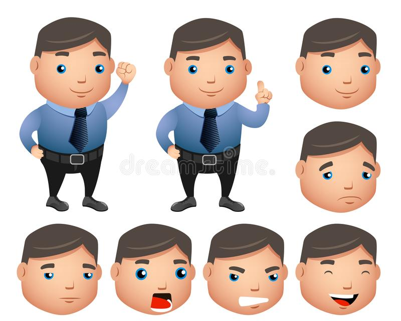 Business character vector set with chubby sales man in office attire. With facial expressions in isolated in white background. Vector illustration vector illustration