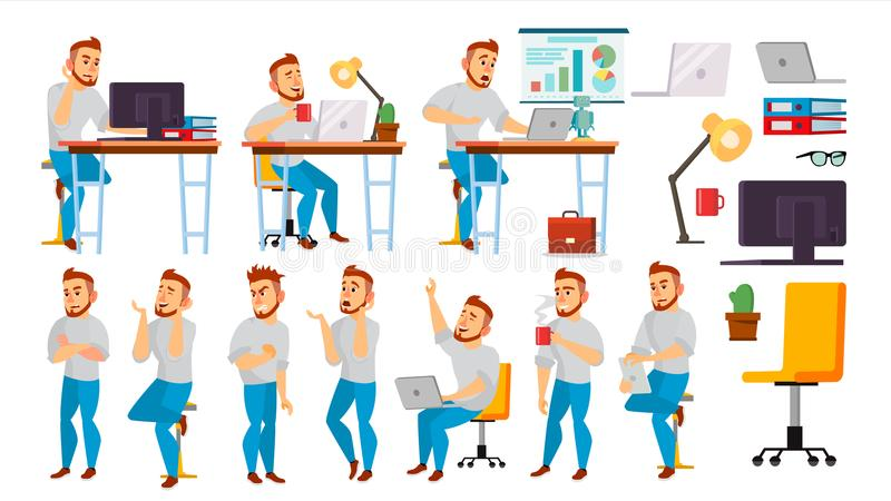 Business Character Vector. Working People Set. Environment Process. Office, Creative Studio. Full Length. Programmer. Business Character Vector. Working Male royalty free illustration