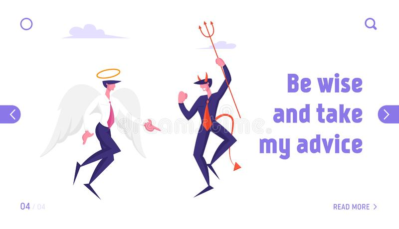Business Characters Angel and Demon Arguing in Heaven Website Landing Page. Satan Holding Pitchfork and Holy Spirit. With White Wings Confrontation Web Page stock illustration