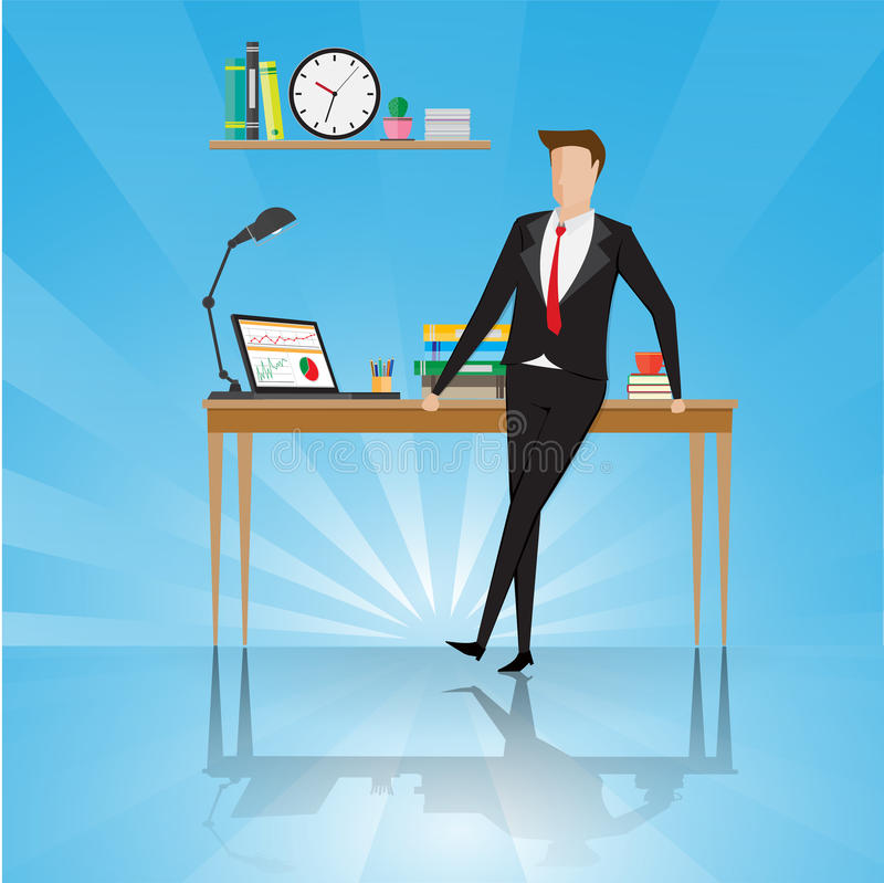 Business characters. Businessman stand near table in a office workplace royalty free illustration