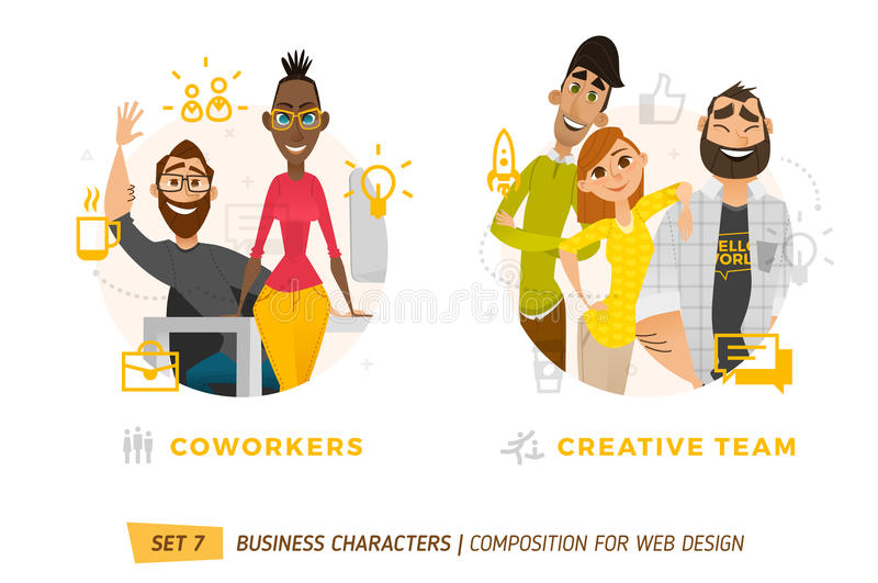 Business characters in circle. royalty free illustration