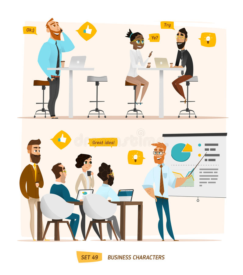 Business characters collection stock illustration