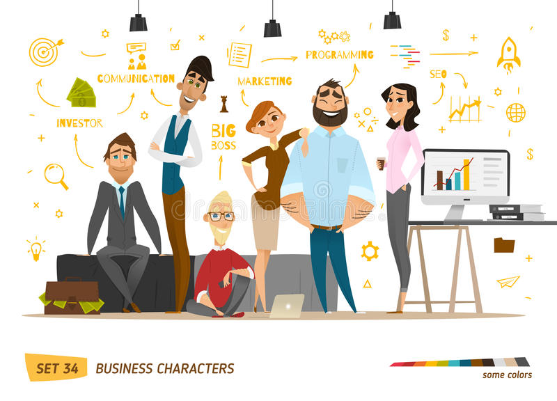 Business characters scene royalty free illustration