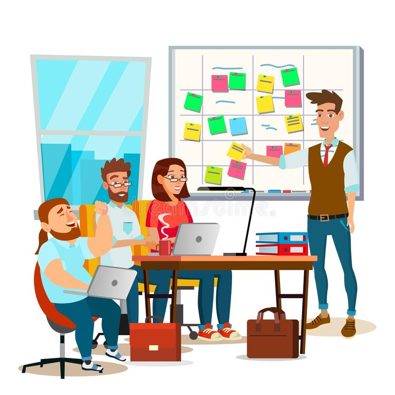 Free Business Characters Scrum Team Work Vector. Office Tasks Process. Scrum Planning Board. Whiteboard And Process Teamwork Royalty Free Stock Images - 111255379