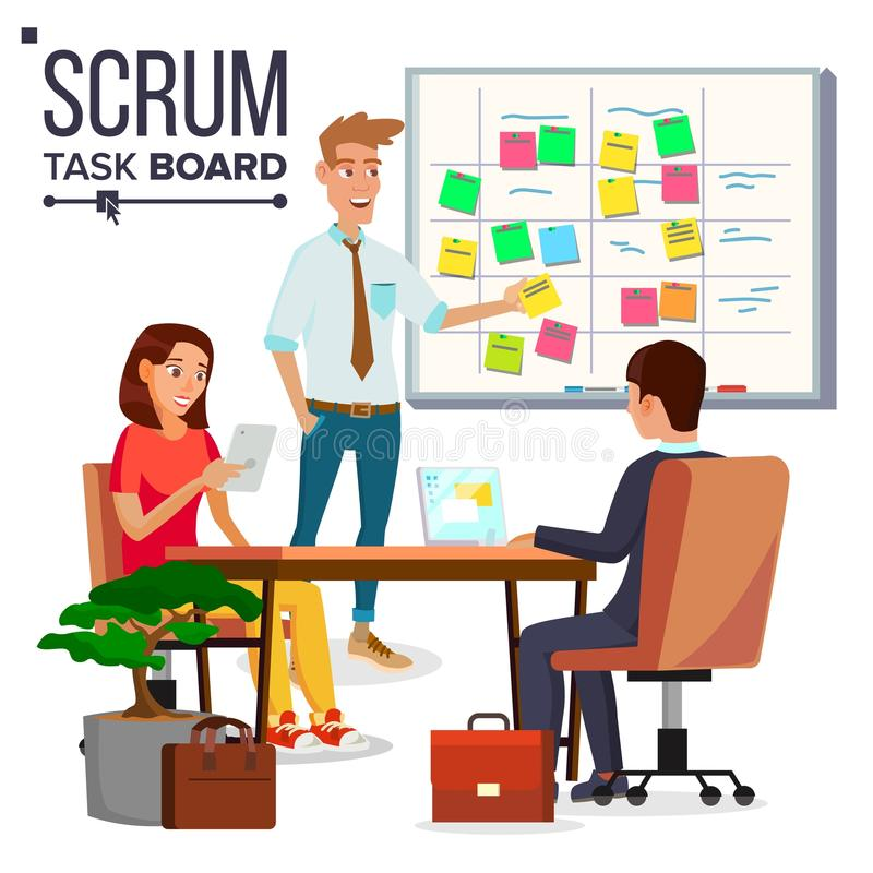 Free Business Characters Scrum Team Work Vector. Teamwork Scheme Planning On Whiteboard. Team Room Full Of Tasks On Sticky Stock Photography - 111255762