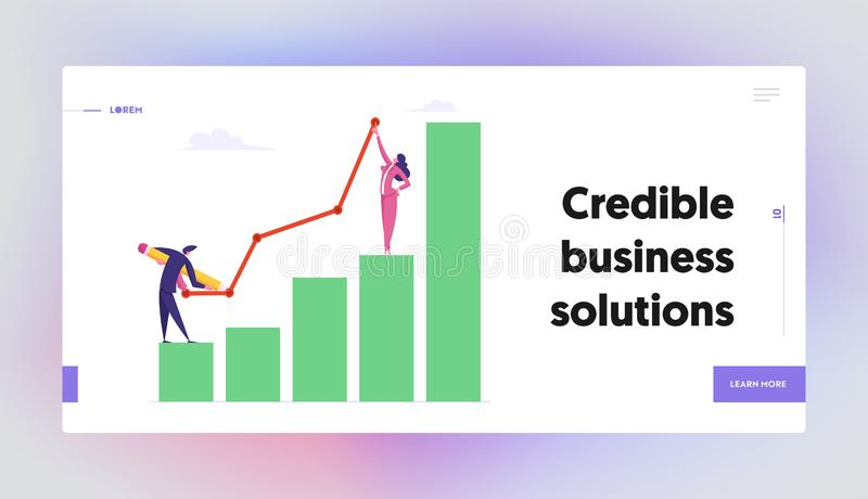 Business Characters Teamwork Concept. Business Team Paint Growing Arrow above Flowchart Graph. Cooperation, Partnership stock illustration