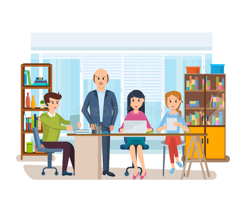 Business characters working in office, business man entrepreneur with colleagues. Set of business characters working in office, business man entrepreneur with royalty free illustration