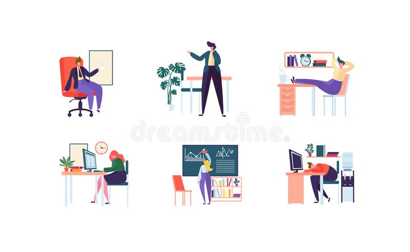 Business Characters Working in Office. Corporate Department with Business People. Management, Organization, Workplace stock illustration