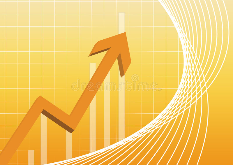 Business chart. Arrowhead business chart pointing in gradient background stock illustration