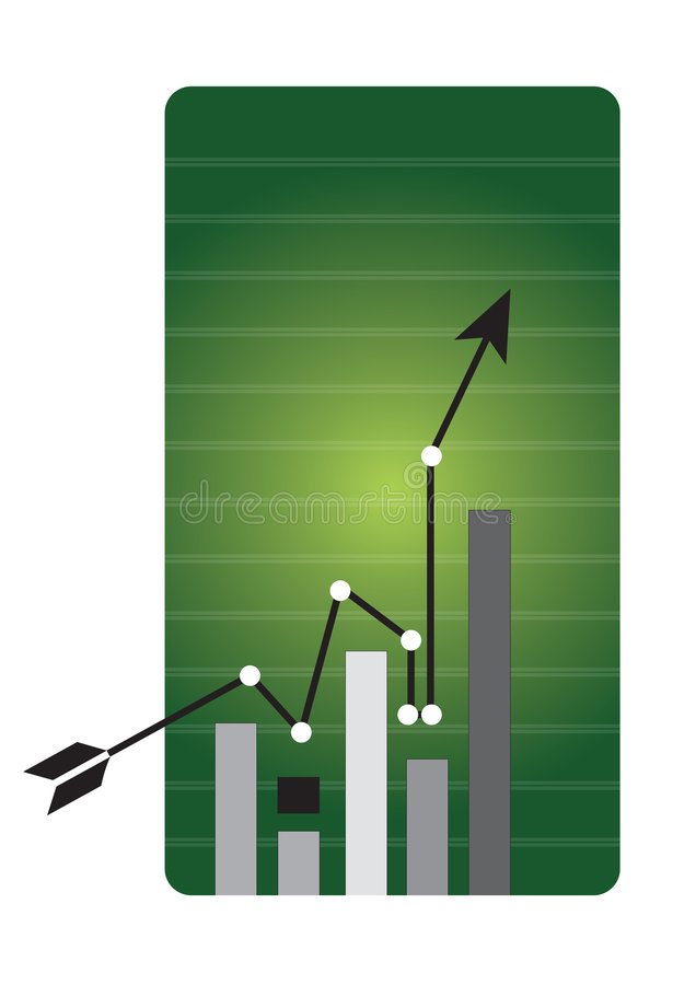 Business chart. Arrowhead business chart pointing in grid line background vector illustration