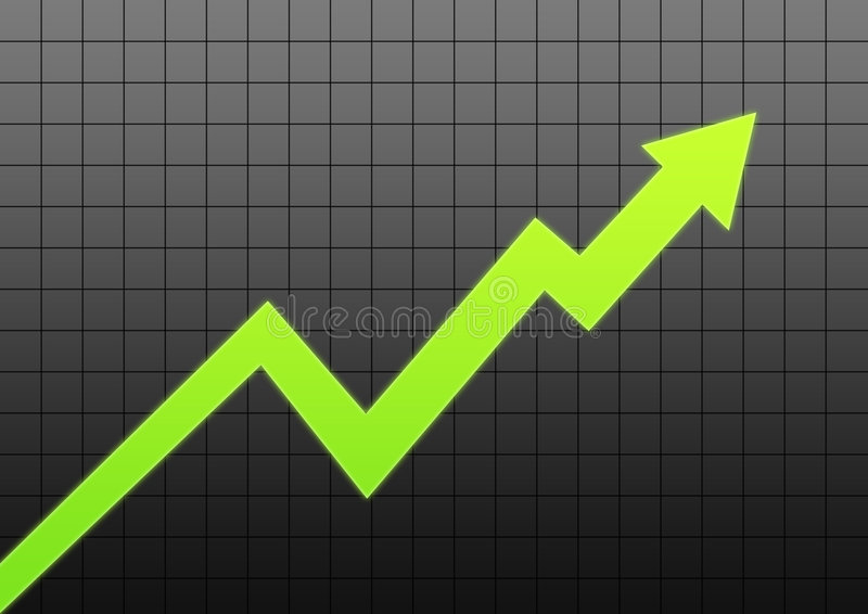 Business chart arrow. Green glowing arrow business chart in black lines background vector illustration
