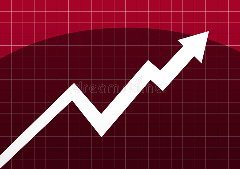 Business chart arrow. White arrow business chart in cherry background royalty free illustration