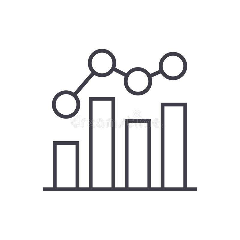 Business chart bar graph vector line icon, sign, illustration on background, editable strokes stock illustration