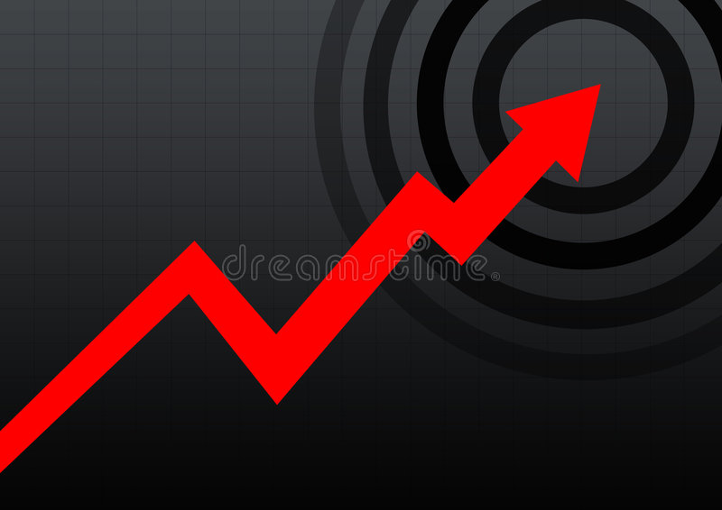 Business chart black. Red arrow business chart in black lines background stock illustration