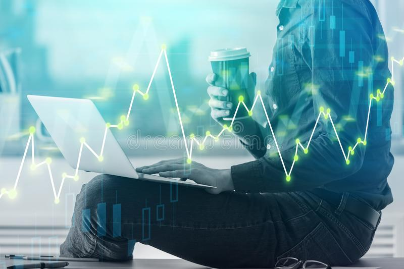 Business chart and bussinessman stock image