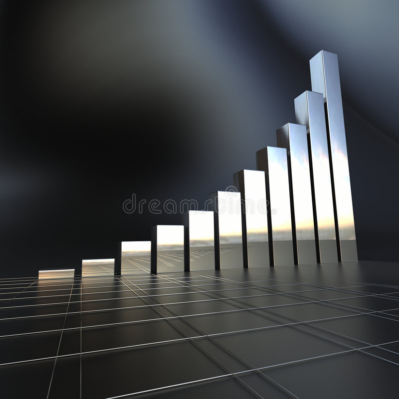 Business chart in chrome. 3D Business chart in a mirrored chrome texture stock illustration