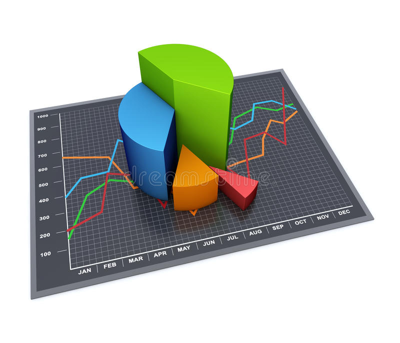 Business chart. Financial business chart and graphs as concept stock illustration