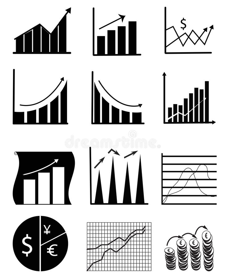 Business Chart And Graph Icons. Business chart and graph icon set in black stock illustration