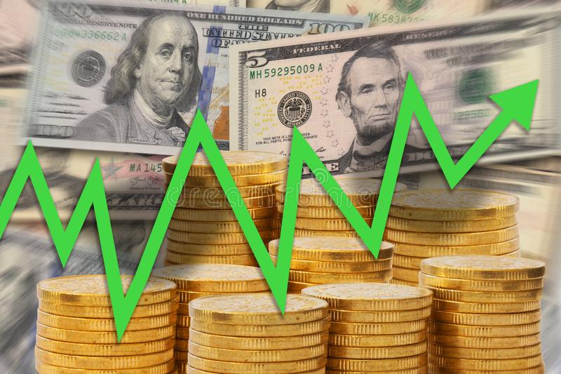 Business chart with green arrow going up on background of golden money stacks and dollar notes - upward trend showing growth and. Properity - stock illustration royalty free illustration