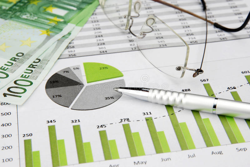 Business Chart Green with Money. Green Business Charts Green with Euro Money, Glasses and pen royalty free stock image