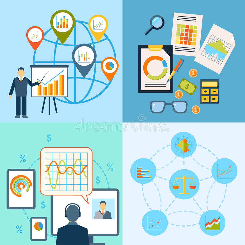 Business chart icon flat composition stock illustration