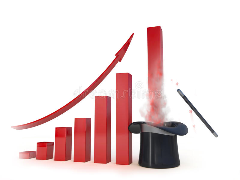 Business chart with a magic help going up. Concept 3d illustration royalty free illustration