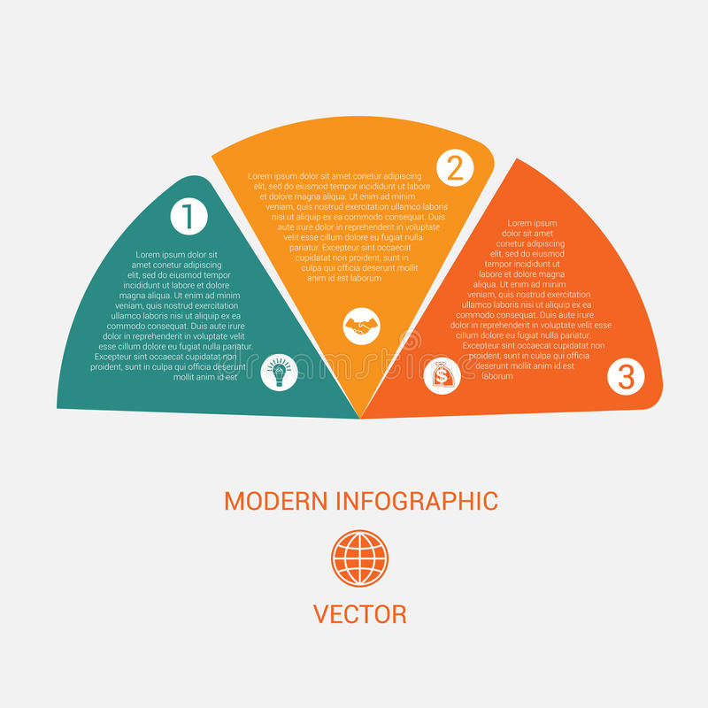 Business chart modern infographic vector template from color semicircle for 3 options royalty free illustration