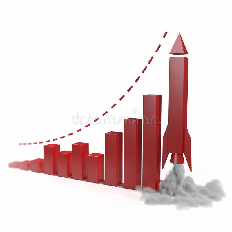 Business chart with a rocket going up. Concept 3d illustration royalty free illustration