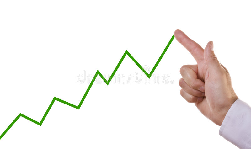 Business chart showing positive growth trend stock photos