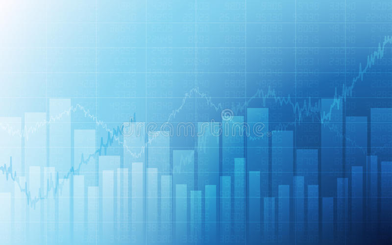 Business chart with uptrend line graph, bar chart and stock numbers in bull market on white and blue color background. Business chart with uptrend line graph royalty free illustration