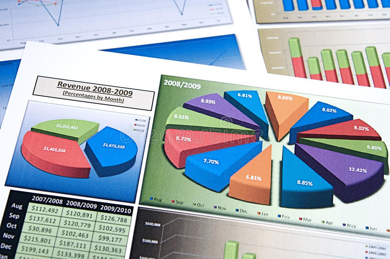Business Charts. Business strategy organizational charts and graphs stock photo