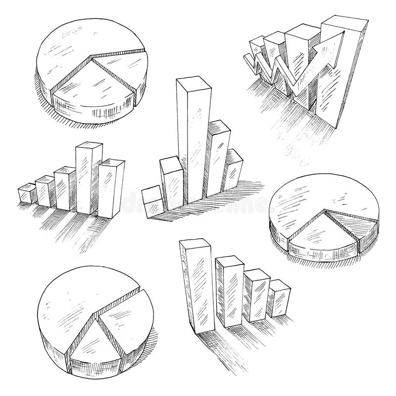 Business charts anf graphs with 3D sketch icons vector illustration