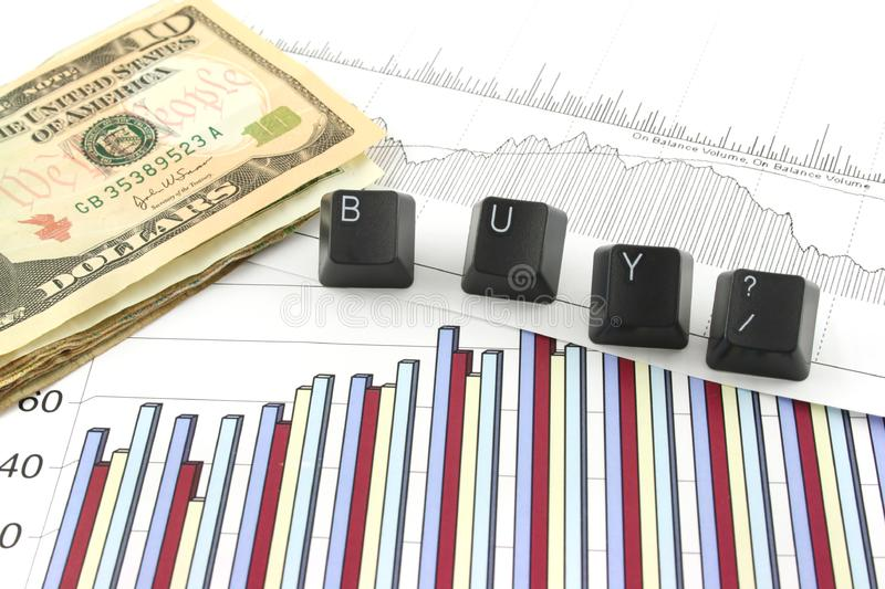 Business Charts with BUY? royalty free stock photo