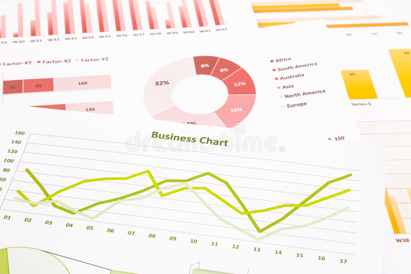 business charts, data analysis, marketing research, global economic summarizing report royalty free stock photos