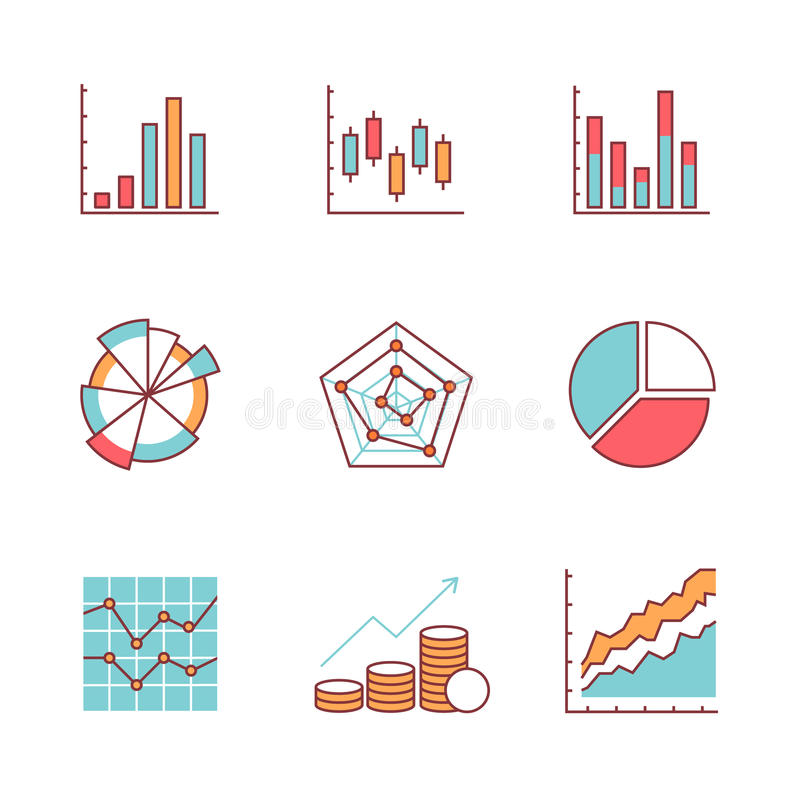 Business charts and data icons thin line set stock illustration