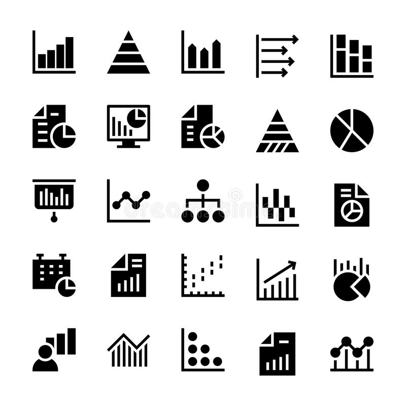 Business Charts and Diagrams Solid Icons 1. We manage a lot of information and we need to show this info in the best visual way, this Business Chart and diagrams stock illustration