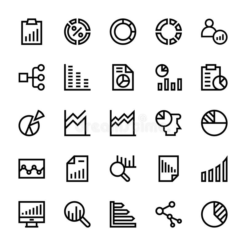 Business Charts and Diagrams Vector Line Icons 2 vector illustration