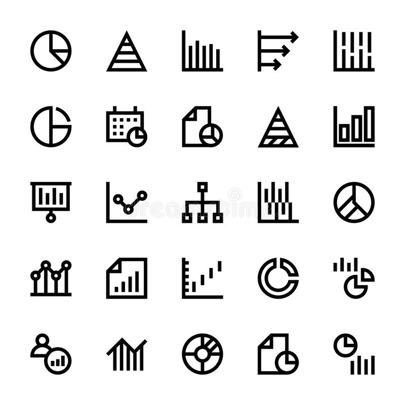 Business Charts and Diagrams Vector Line Icons 1 stock illustration