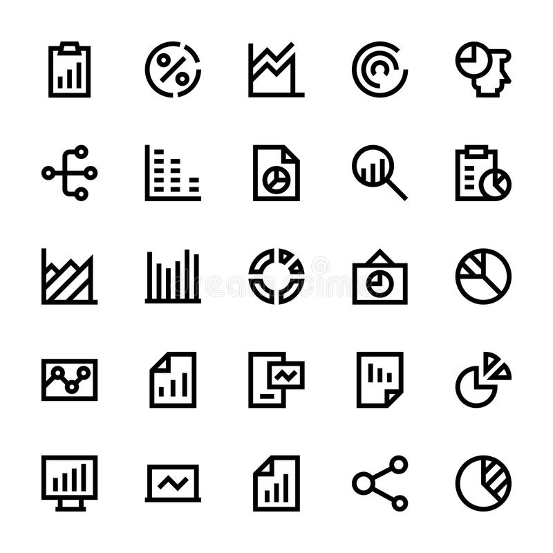 Business Charts and Diagrams Vector Line Icons 2 royalty free illustration